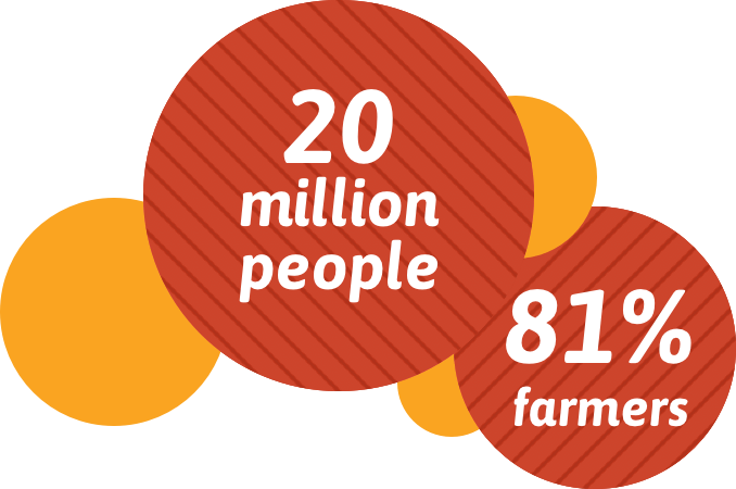 20 million people, 81% farmers